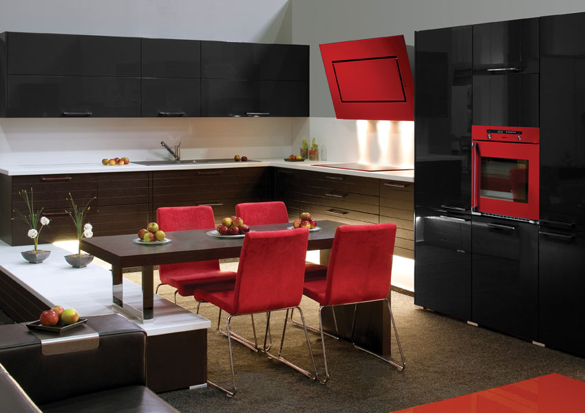 la cuisine voit rouge avec baumatic inspiration cuisine le magazine de la cuisine quip e. Black Bedroom Furniture Sets. Home Design Ideas