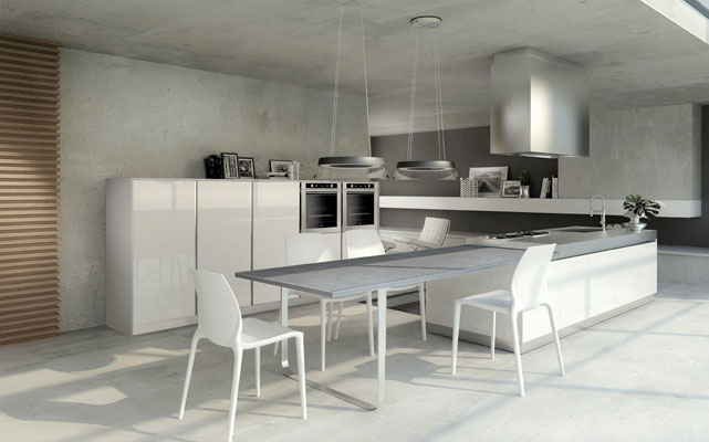 La cuisine design accessible de bontempi cucine for Ilot central avec table extensible