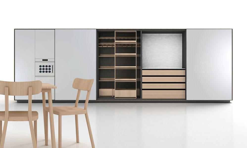 Key System de Schiffini, cuisine discrète, cuisine haut de gamme, cuisine design, cuisine aménagée, cuisine épurée