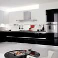 Une cuisine en noir et blanc