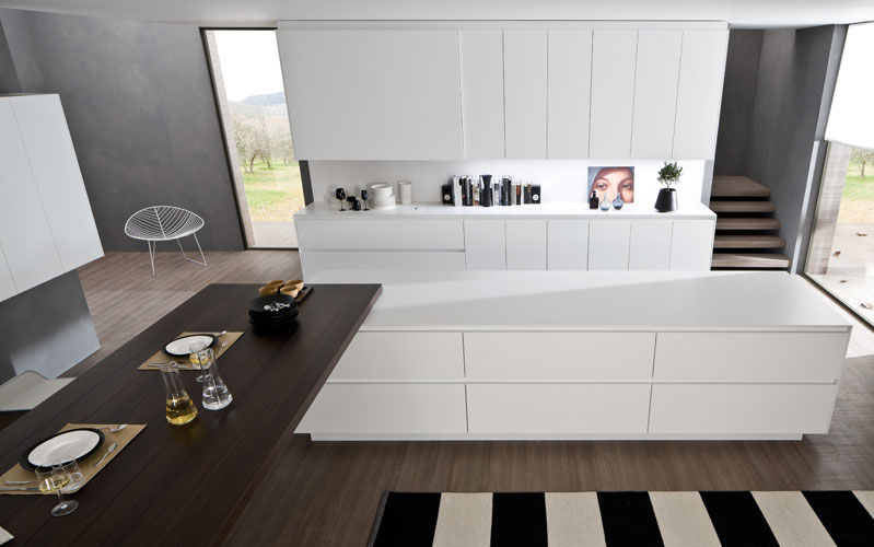 une cuisine sobre et pure inspiration cuisine. Black Bedroom Furniture Sets. Home Design Ideas