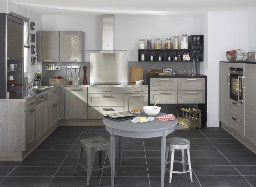 Les cuisines en bois la tradition au go t du jour - Photo cuisine grise et bois ...