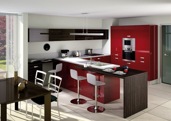 meuble de cuisine en bois rouge cuisine cuisine bois. Black Bedroom Furniture Sets. Home Design Ideas