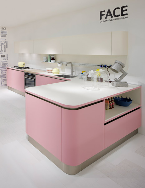 la cuisine rose pastel de veneta cucine inspiration cuisine. Black Bedroom Furniture Sets. Home Design Ideas