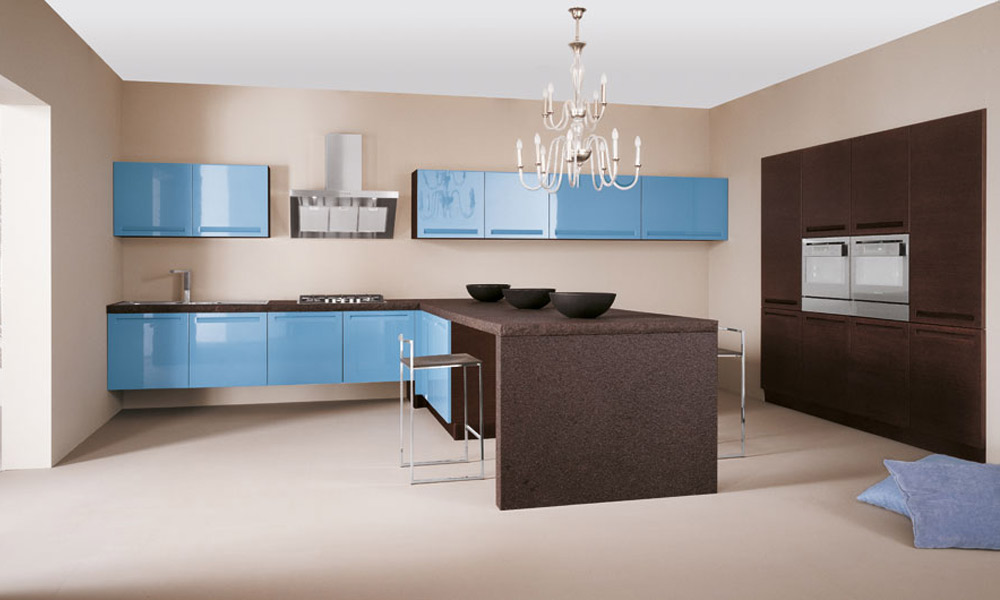 une touche de bleu dans la cuisine inspiration cuisine. Black Bedroom Furniture Sets. Home Design Ideas