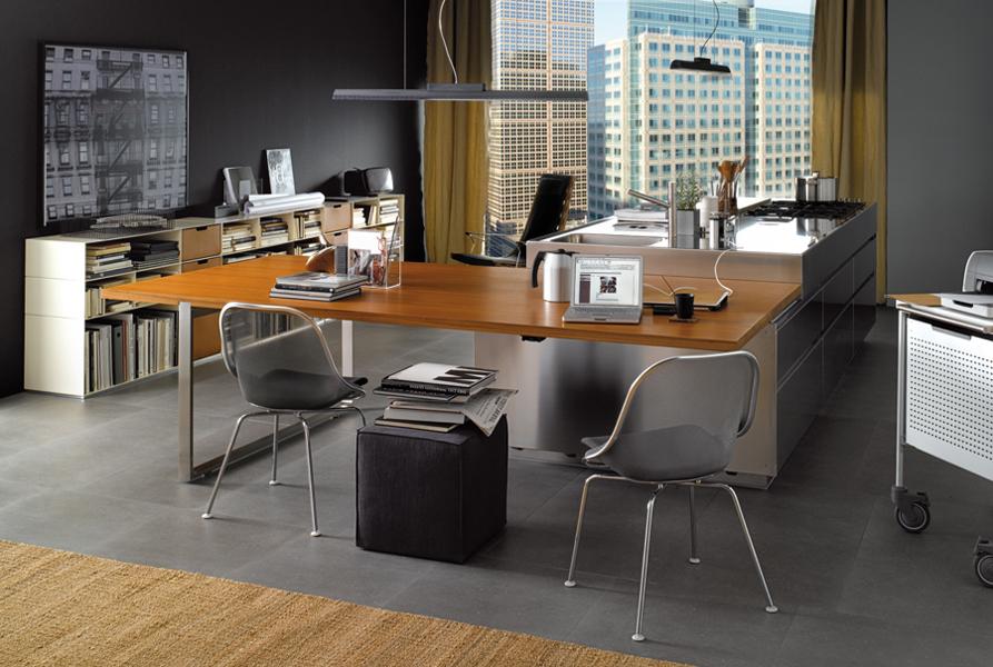 Les cuisines font bureaux inspiration cuisine for Cuisine ilot table integree