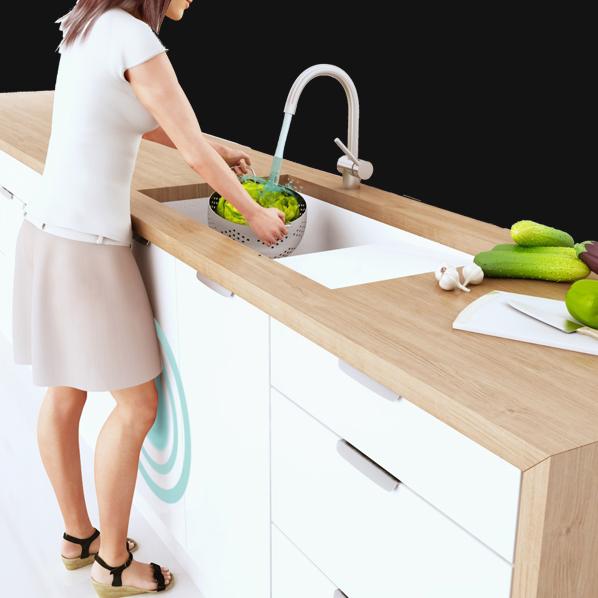 Un robinet qui s active avec le genou inspiration cuisine - Robinet bulthaup ...