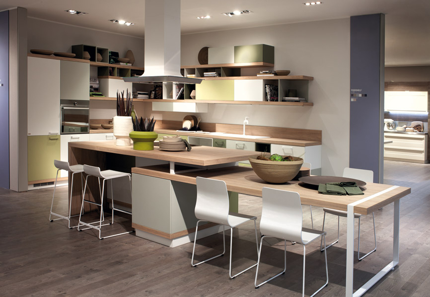 Zoom sur un designer ora to pour scavolini gorenje for Table de cuisine modulable