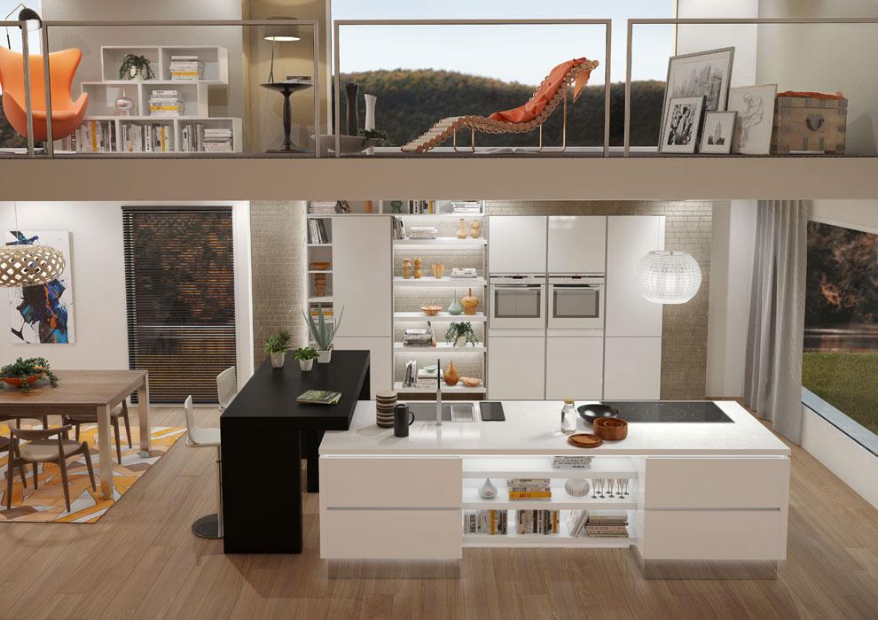 interesting cette cuisine sans poignes joue la carte de la modernit avec ses lignes pures son. Black Bedroom Furniture Sets. Home Design Ideas