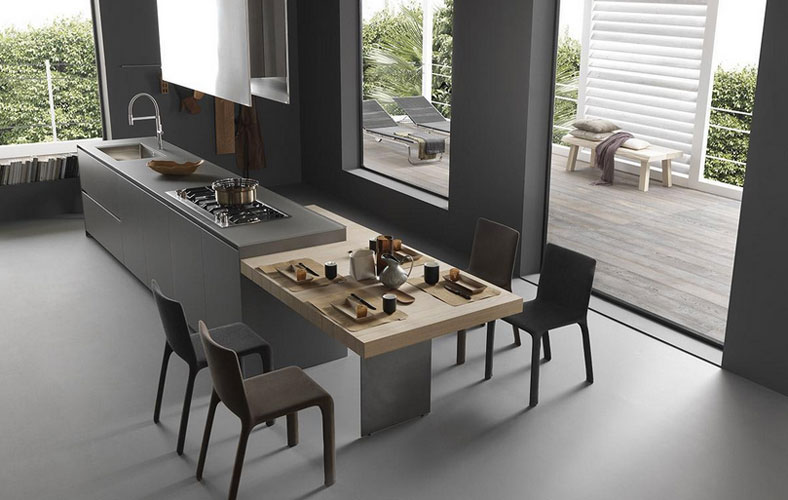 cuisine moderne ilot central table avec des. Black Bedroom Furniture Sets. Home Design Ideas