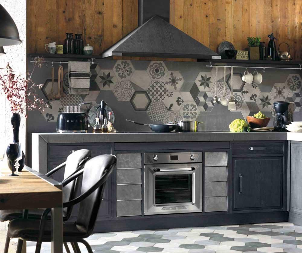 carreau de ciment la tendance r tro chic des cuisines inspiration cuisine. Black Bedroom Furniture Sets. Home Design Ideas