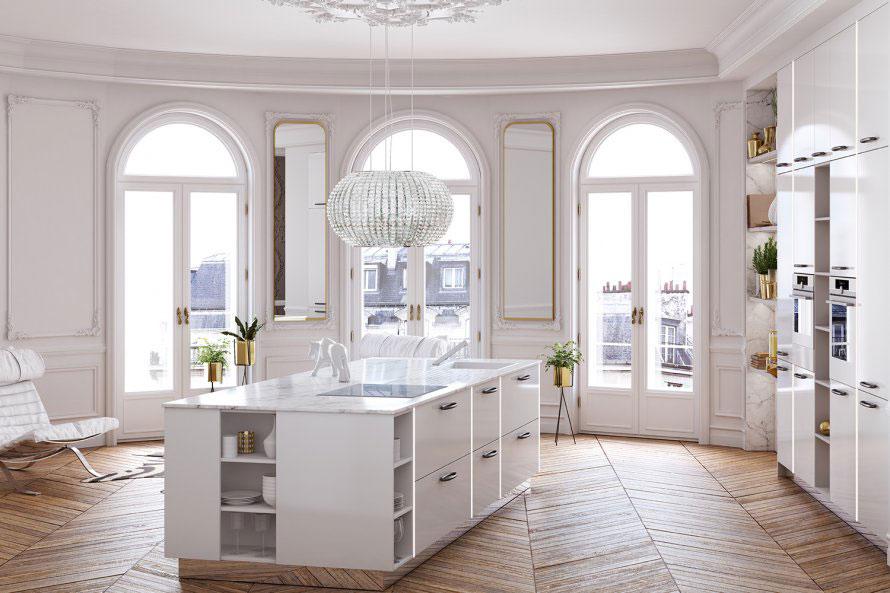 Dix id es pour r aliser la cuisine de ses r ves - Cuisine blanche design ...