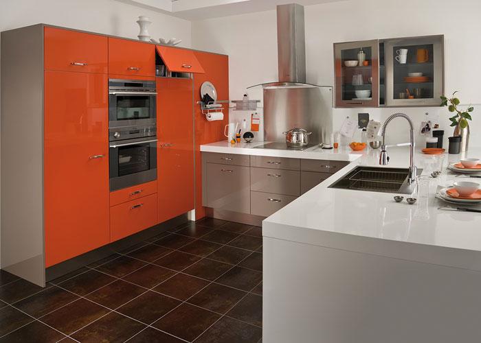 Cuisine Twist en PVC brillant orange et cannelle de Lapeyre