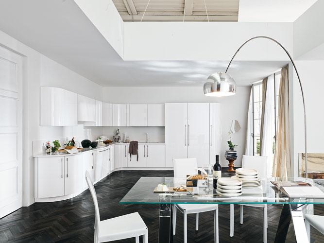 Arch de Leader Cucine. Cuisine blanche. Cuisine design. Cuisine arrondie