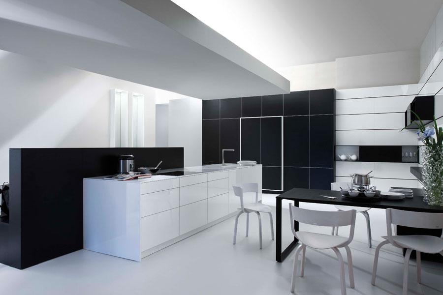 Des cuisines haut de gamme tr s discr tes inspiration - Cuisine design noir et blanche ...