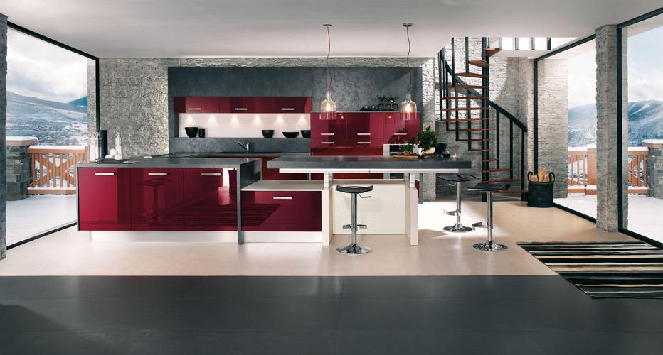 La cuisine rouge inspiration cuisine - Cuisine rouge et grise ...